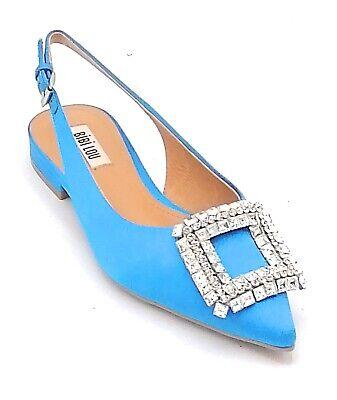 как выглядит Bibilou 504z85 Slingback Satin Blue Strap Accessory Crystals U фото