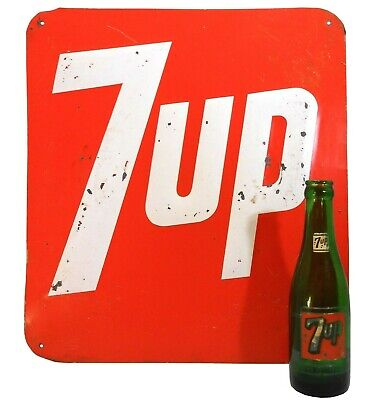 "RARE VINT 7 UP (1967-1970) RED/WHITE ENAMEL RAISED LETTER TIN AD SIGN, 16"" x 14"""