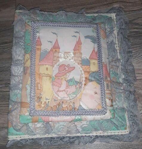 Vtg Mother Goose Nursery Rhyme Cloth Baby Photo Scrapbook Binder Album Lace Trim