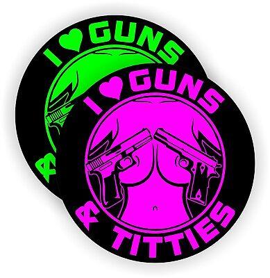 Hard Hat Stickers - Guns And Titties Funny Sexy Motorcycle Welding Helmet Decals