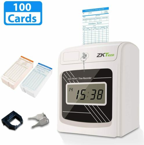 Time Clocks for Employees Small Business Punch with 100 Time Card Check in out