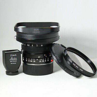 Leica ELMARIT-M 21mm f2.8 Lens 6BIT+SBKOO Black Repaint Finder + Hood +13381 E60