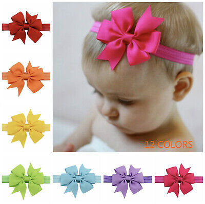 Handmade Newborn Baby Girls 1/6/12pcs Bow Headband Soft Elastic Strap Head Band