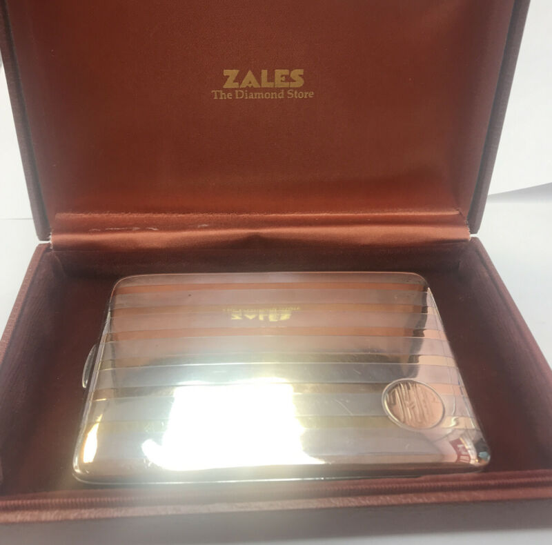 """Zales  Sterling and 14K Gold Antique Striped 4"""" Cigarette Case Monogramed 120gr"""