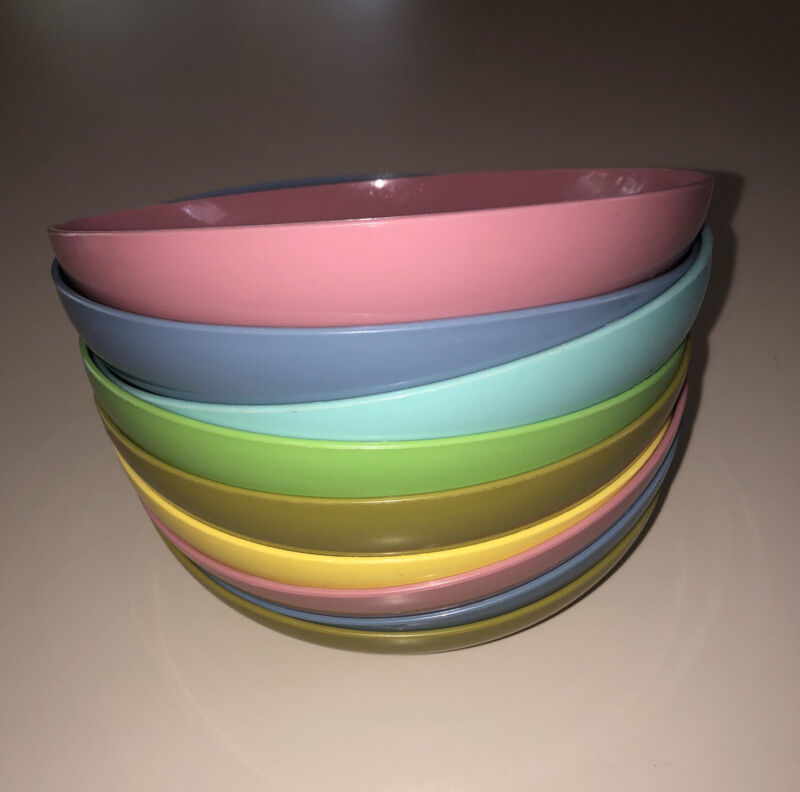 Lot of 9 Vintage Tupperware Cereal Bowls #155 Multicolored