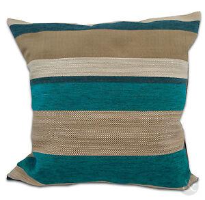 Chenille Stripe Cushion Cover in Teal Blue & Cream – Sofa Scatter Cushion