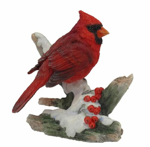 NEW! Cardinal Perching on Snowy Branch Winter Figurine Red Bird Lover Gift