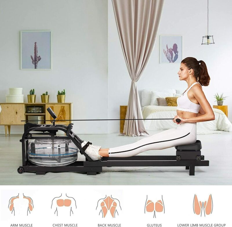 Metal Water Rowing Machine Rower Cardio Fitness Exercise Home Gym w/ LCD Monitor