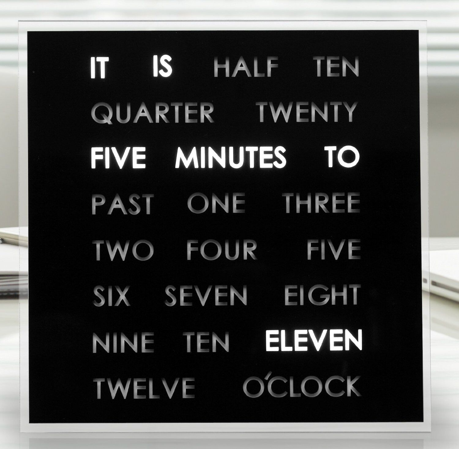 LED Word Clock Great For Bedroom Office Kitchen Kids Room