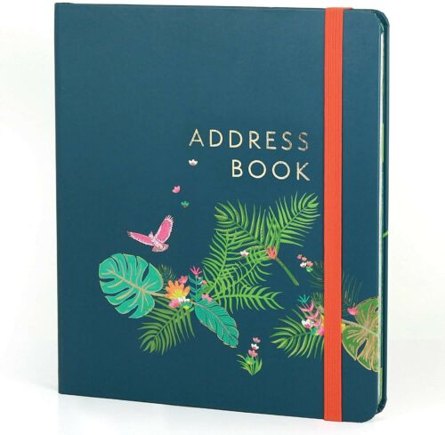 "Beautiful Boxclever Tropical Address Book with Tabs. Large Address Book 8.5"" x 7"