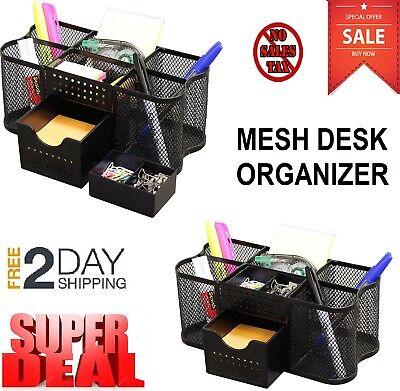 Black Mesh Desk Organizer Office Table Accessories Wire Metal Drawer Steel Box