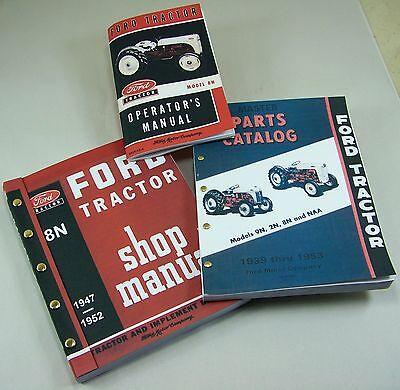 Lot 3 Ford 8n Tractor Manuals Shop Operators Parts Catalog Service Repair Owner