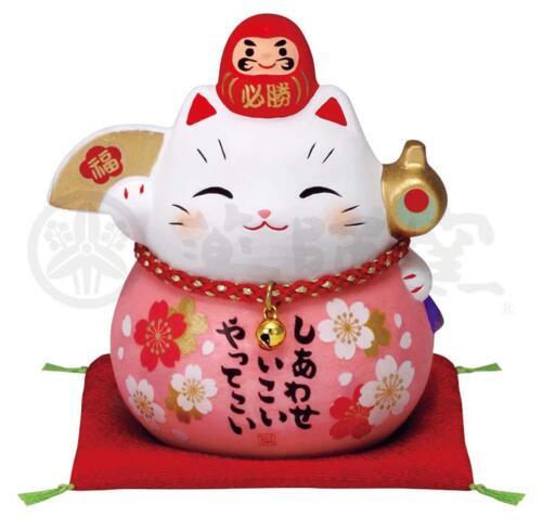 Pottery Maneki Neko Beckoning Lucky Cat 7688 Sakura Dharma Pink 90mm from JAPAN