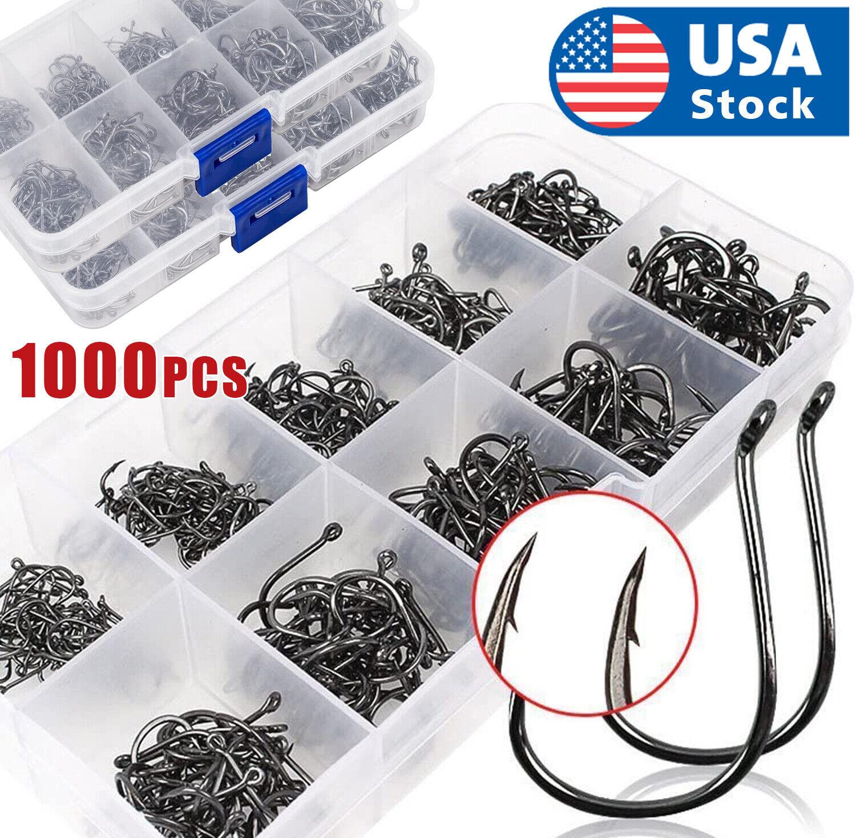 1000pcs Fish Hooks 10 Sizes Fishing Black Silver Sharpened With Box Quality kit Fishing