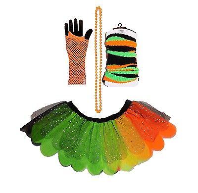Neon Tutu Skirt Pumpkin Halloween 80s Fancy Dress Leg Warmers Gloves Beads ](Maternity Cheerleader Costume)