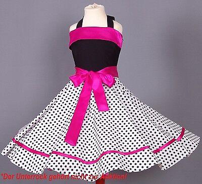 Mädchen 50-er Jahre Petticoat, Tanz,Einschulung Kleid Gr104-154 Schwarz/weiß