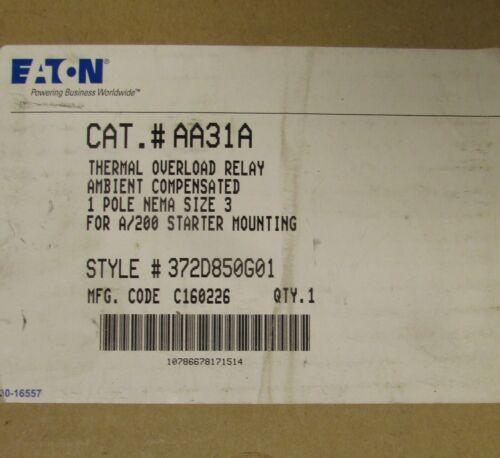 EATON CUTLER HAMMER AA31A Size 3 Starter Mount Overload Relay 372D850G01