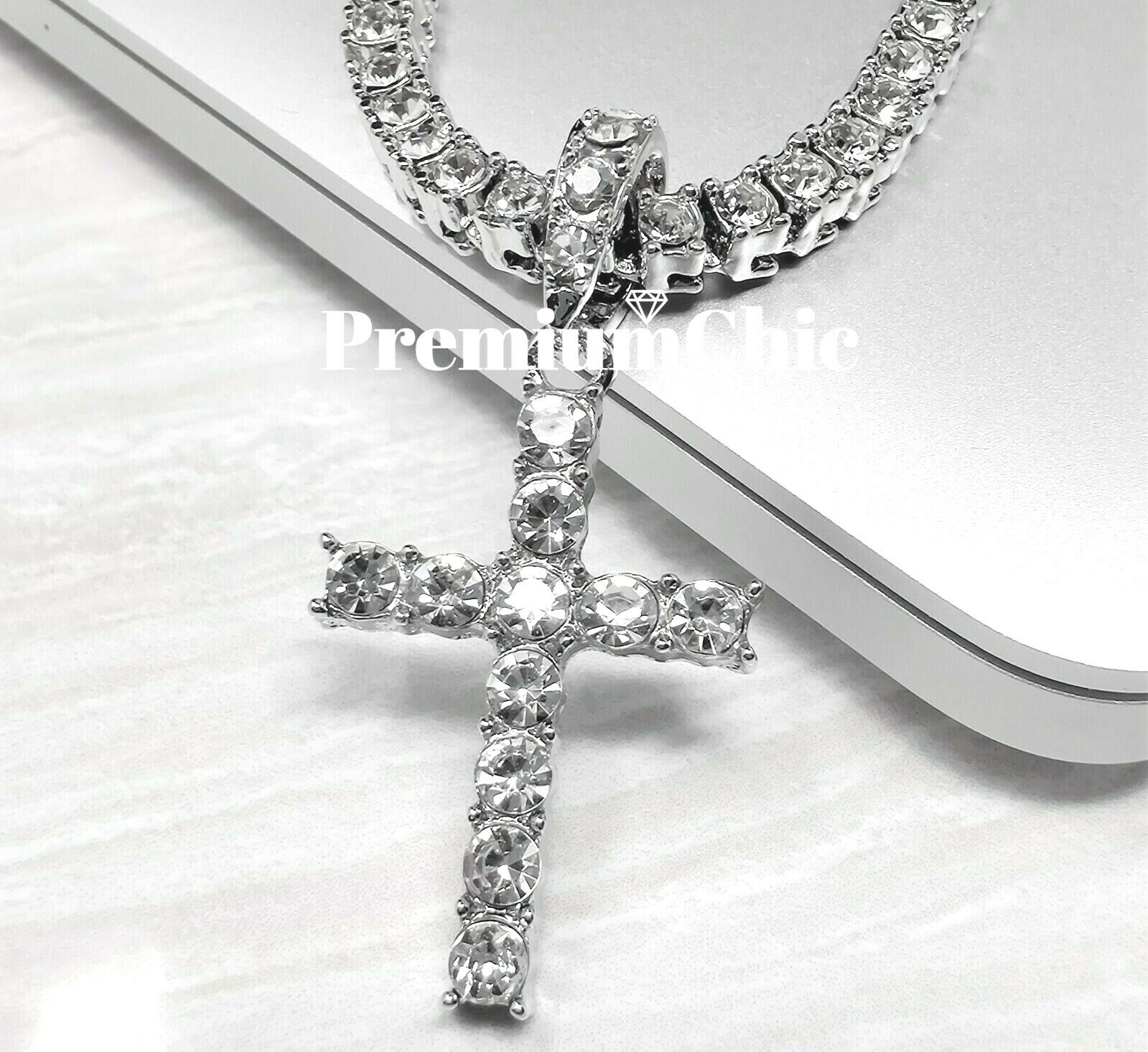 ICED Cross Pendant & Tennis Chain Choker Gold Silver Plated Mens HipHop Necklace