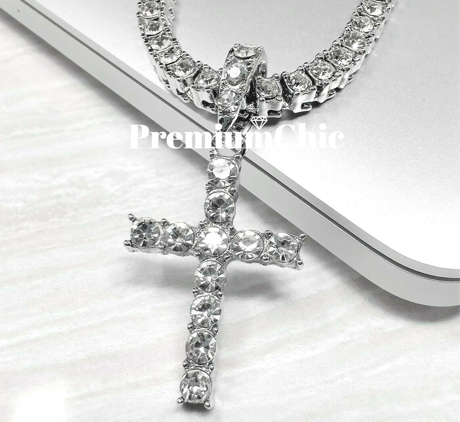 ICED Cross Pendant & Tennis Chain Choker Gold Silver Plated
