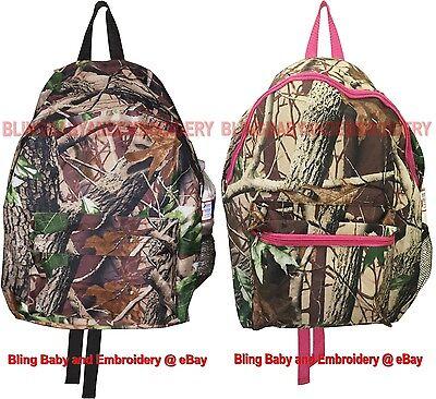 - Camo Camouflage Backpack Realtree Mossy Oak Pattern Black Pink