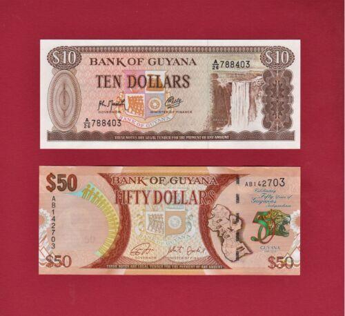 2 GUYANA UNC NOTES: $10 1992 (P-23) & $50 (1996-2016) Commemorative Issue (P-41)