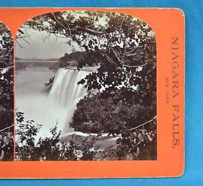 1860/70s Stereoview Photo USA Niagara Falls American Fall Fr Goat Geo. E. Curtis