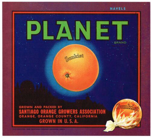 ORIGINAL 1930S ORANGE COUNTY CRATE LABEL PLANET VINTAGE SANTIAGO ASTRONOMY