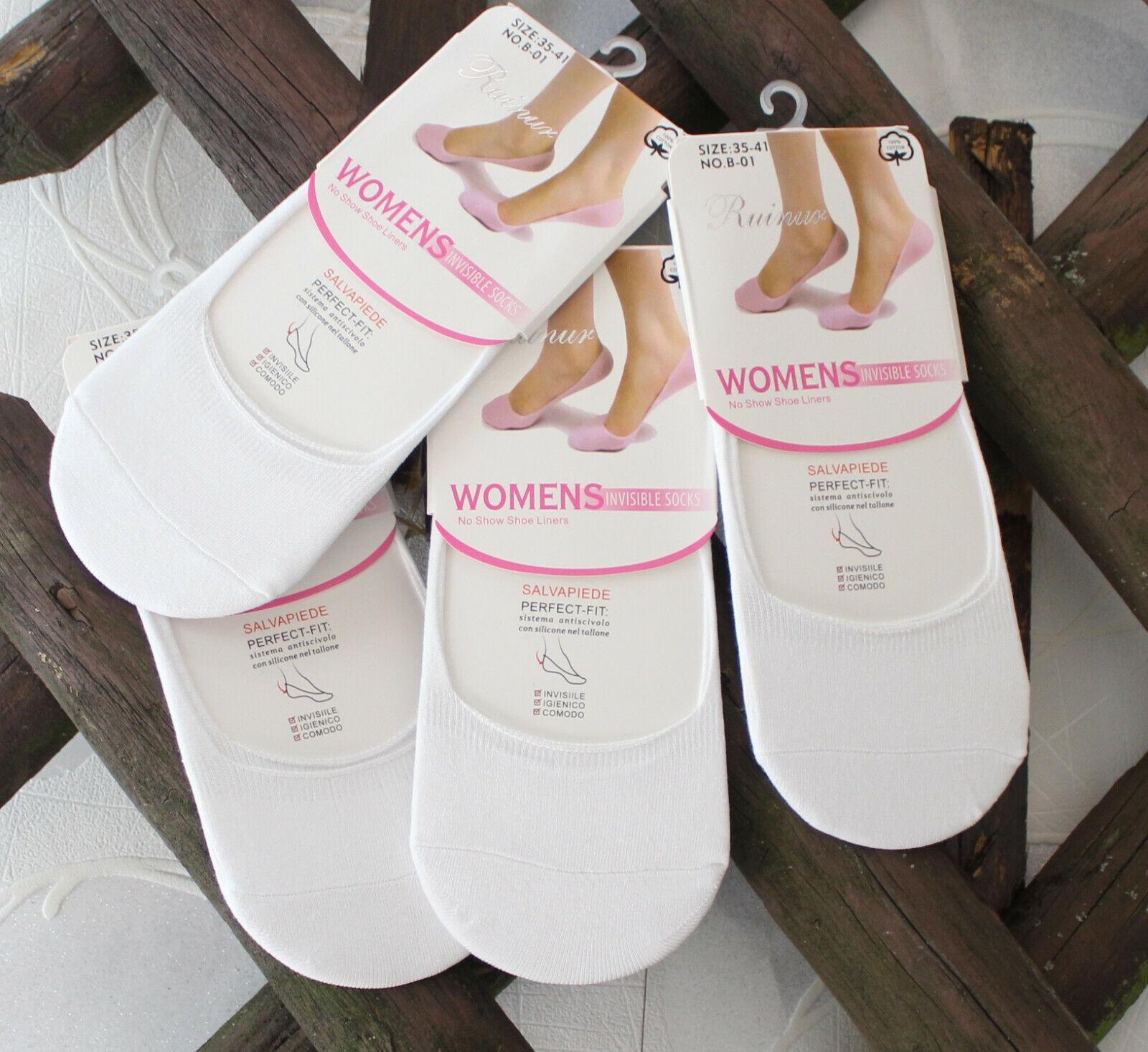 12 Paar Füsslinge Damen Ballerina Sneaker Footies  Socken Silikonstreifen