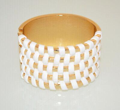 PULSERA mujer oro blanco metal rígida esclava brazalete bracelet trenzado BB50