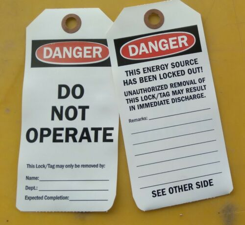 Danger - Do Not Operate tags with eyelet,15 pack
