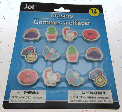 Kids Erasers ~ Rainbow ~ Unicorn ~ Ring ~ Butterfly ~ Doughnut ~ 12 - Ring Eraser