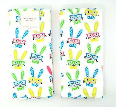 Isaac Mizrahi New York 4 Kitchen Towels Easter Bunny With Glasses NEW