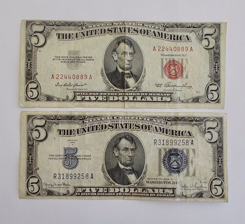 Two Vintage $5 Bills: 1934 Silver Certificate & 1953 US Note (Red Seal)