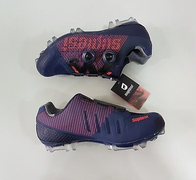Suplest Crosscountry XC Pro Carbon Mountain Bike MTB Shoes Size 44 Navy Coral ()