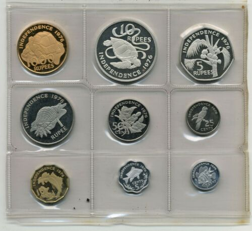 SEYCHELLES 1976 INDEPENDENCE 9 PIECE PROOF SET WITH GOLD IN BOX WITH COA