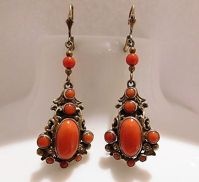 Biedermeier Korallen Ohrringe,Silber 925 vergoldet, antique coral Earrings
