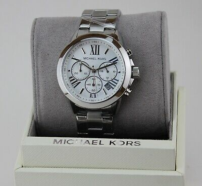 NEW AUTHENTIC MICHAEL KORS BRADSHAW SILVER CHRONOGRAPH WOMEN'S MK6127 WATCH