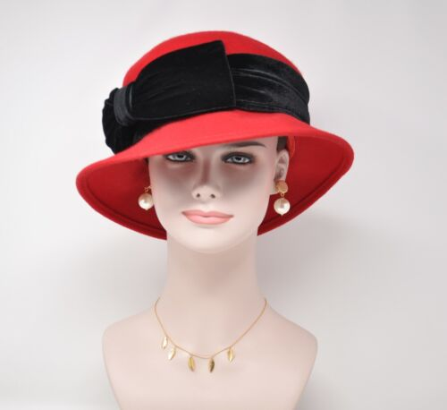 Ladies Vintage Style Felt Racing Velvet Wool Cloche Floral Bowler Hat Red/Black