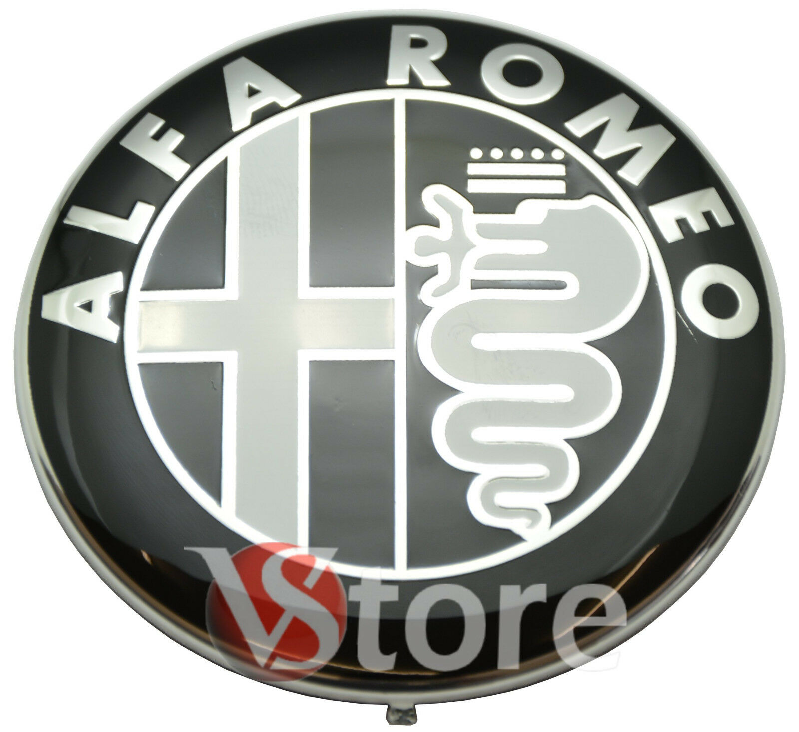 Alfa Romeo Emblem Front Khlergrill Heckklappe Symbol 2 Logo 74mm Schwarz Fronthaube Hinten