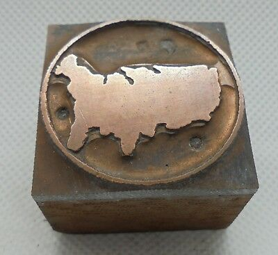 Vintage Printing Letterpress Printers Block Usa Map