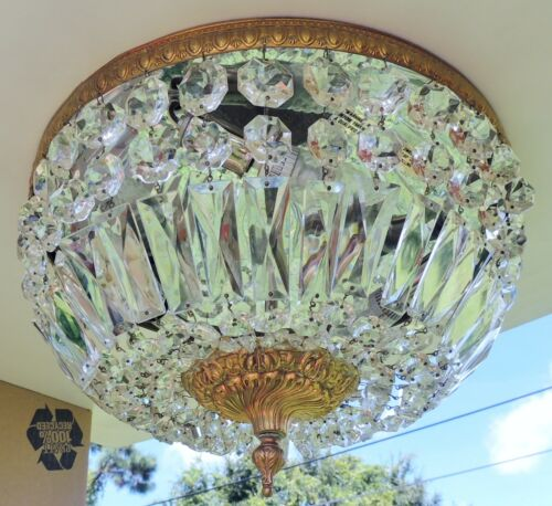 "Antique/Vtg 14"" ITALY Flush Mount Crystal Brass 3Light Chandelier BREAKERS HOTEL"