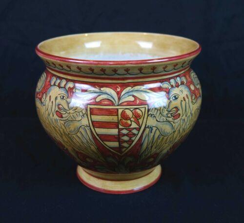 Vintage Italian Pottery Magnanelli Gubbio Cottura Hand Painted Griffin Planter