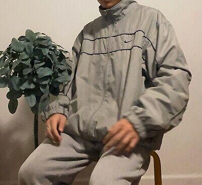 Vintage Nike Windbreaker Jacket Men's Size Large White Grey Full Zip