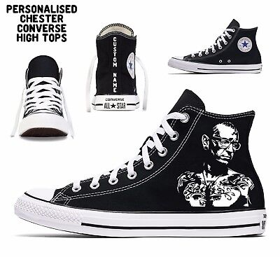 personalised chester bennington custom converse all star mens high tops name art - Converse Personalised