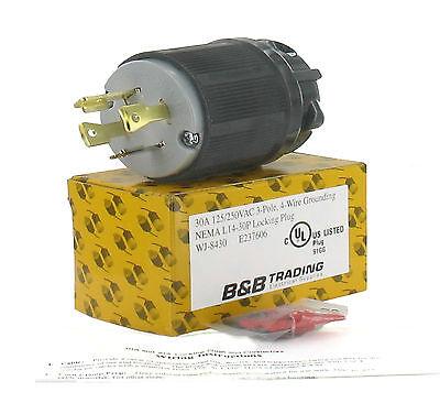 Nema L14-30 30a 125250v 3 Pole 4w Grounding Plug Wexternal Cord Grip L14-30p