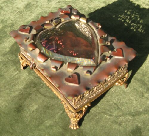 Antique Brass Victorian Heart Shaped Bevel Glass Jewelry Claw Foot Box Valentine
