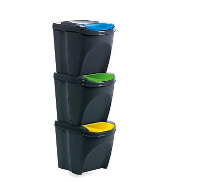 Mülleimer Abfalleimer 3 x 20 L modulares Mülltrennsystem Biomülleimer stapelbar