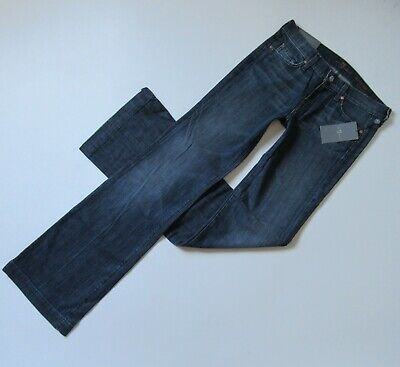 NWT 7 For All Mankind Slim Trouser in Dark New York Stretch Flare Jeans 27 x -