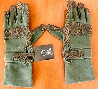 Ansell Hawkeye Combat Gec Gloves 46-405 Leather Palm L 276118 Protection New