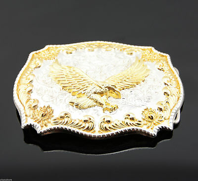 Gold & Silver Plated Fly Flying Eagle Western Cowboy Rodeo Metal Belt Buckle